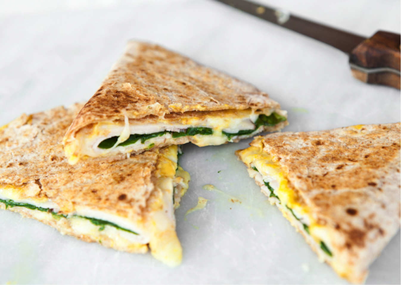 Ham and cheese quesadillas with baby spinach