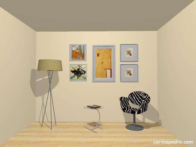 Estudo de Carina Pedro sobre composição de arte na parede