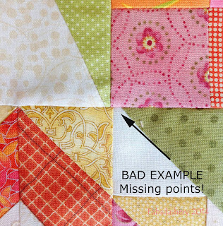 Bad Example - Missing points! machine quilting