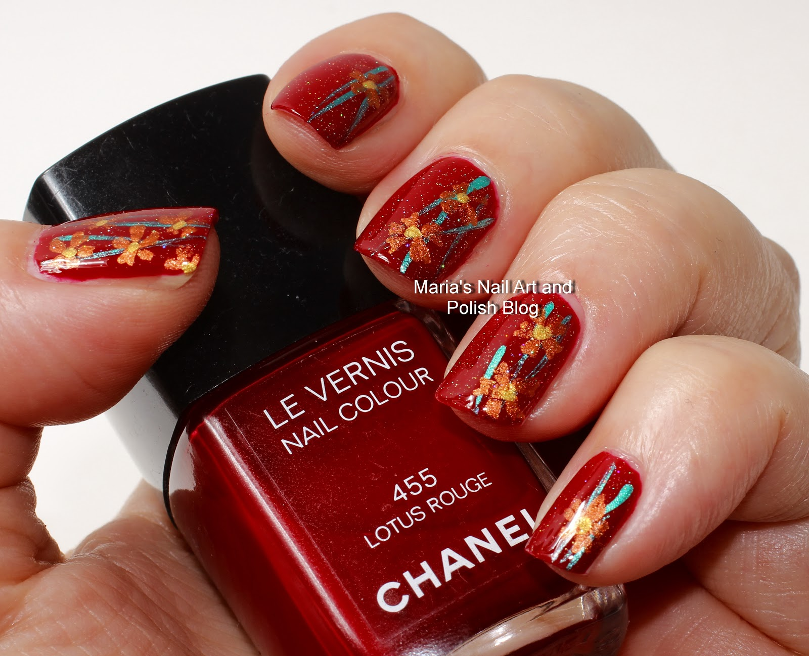 Marias Nail Art And Polish Blog Copper Flowers For A Red Lotus