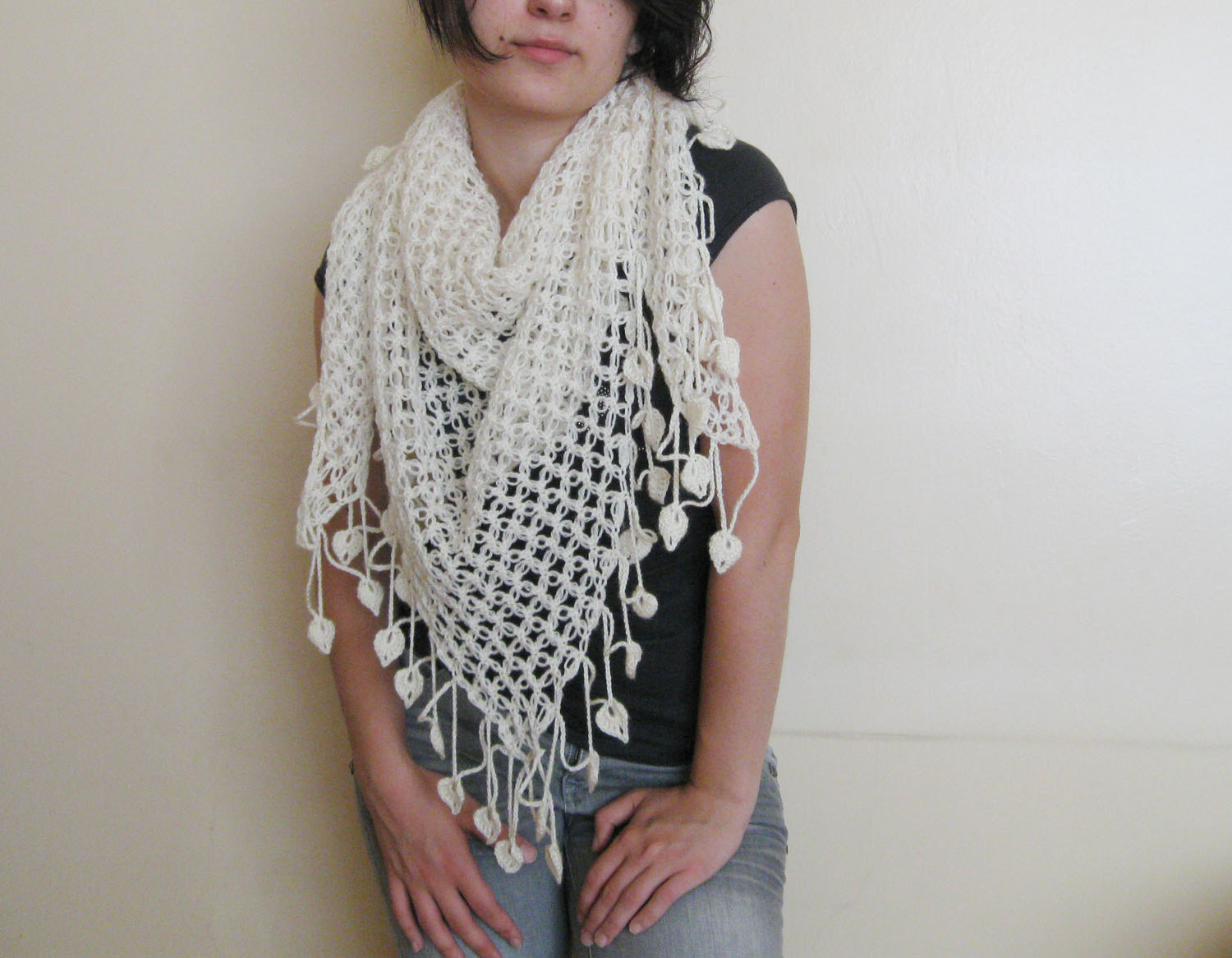 Hand crocheted lace shawl the finished shape is triangular the best