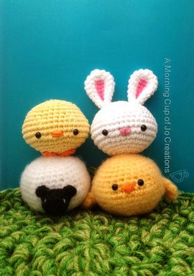 image Free Sheep Crochet Pattern - Craftsy includes chick, bunny, lamb,duck