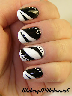 nokti slike crno beli motivi 005