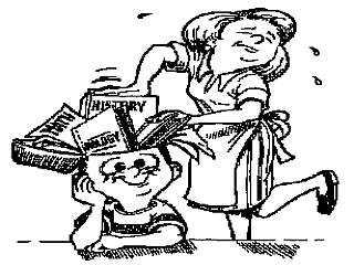 A cartoon of a mother trying to fit books in a child's head to help him figuratively memorize