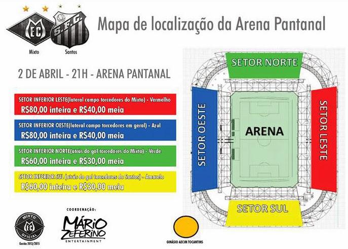 mapa de ingressos Mixto x Santos