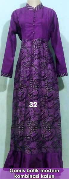 gamis-batik-kombinasi-modern-model-terbaru