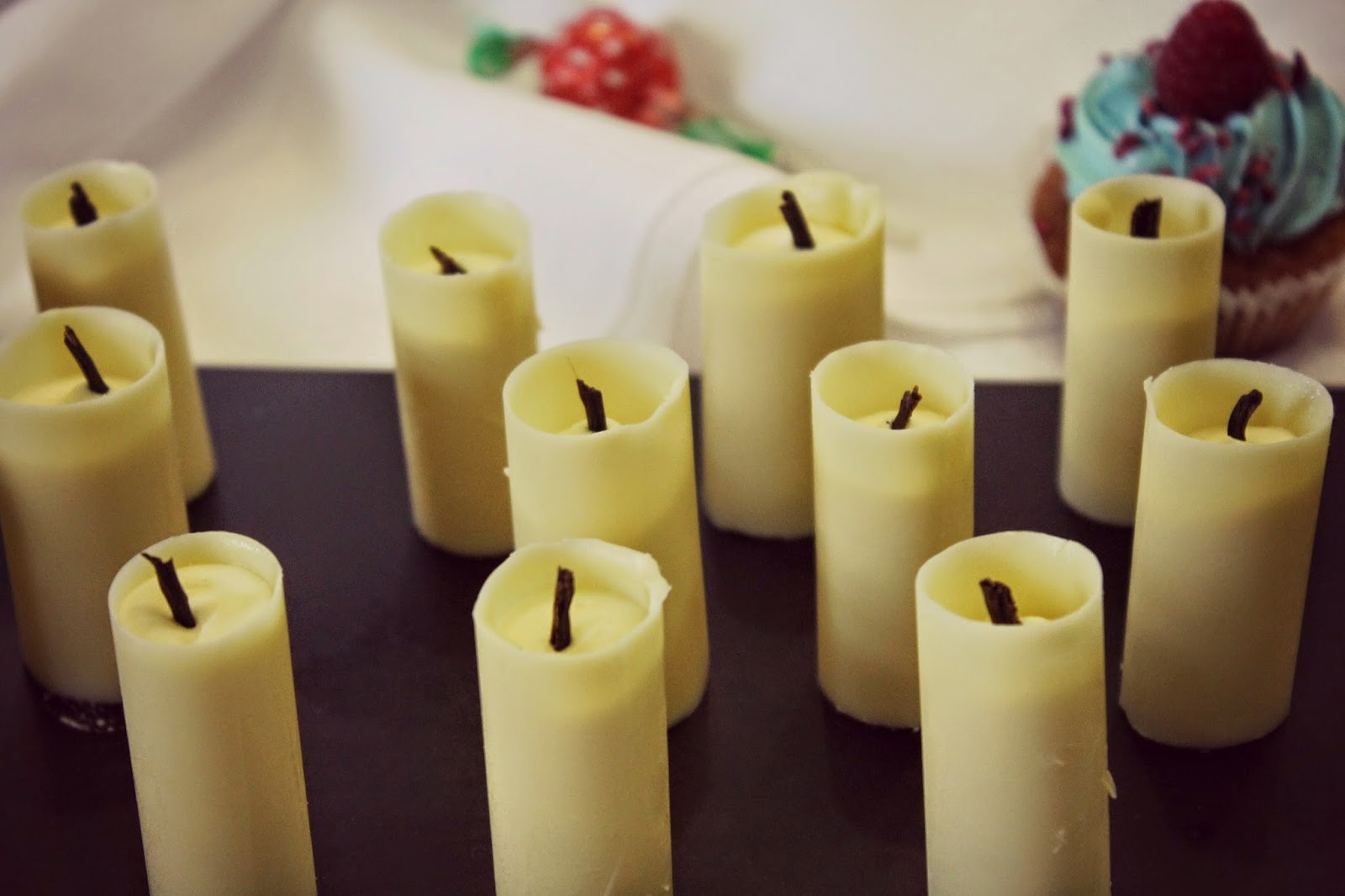 white chocolate candles