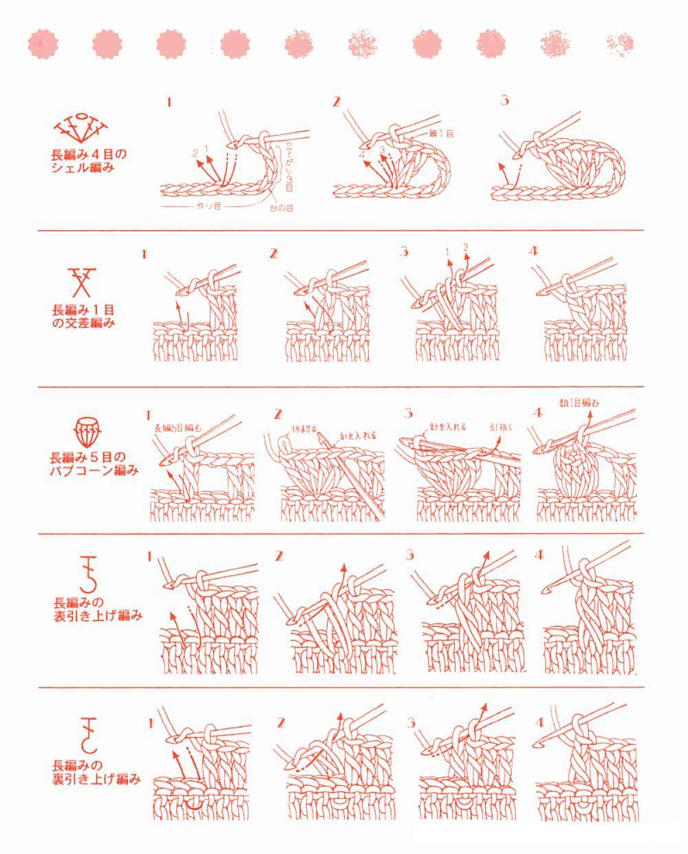 crochet y dos agujas (palitos): Guía de Puntos en Crochet (Diagramas