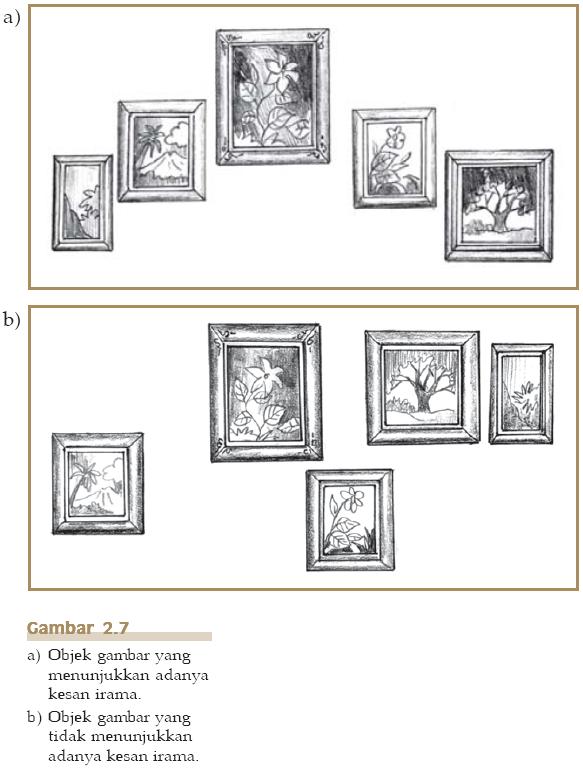 Gambar 2.7 Objek gambar yang menunjukkan ada tidaknya kesan irama