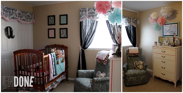 {The UNDONE Blog} Cute Girl Nursery! Pink, Black, and Aqua