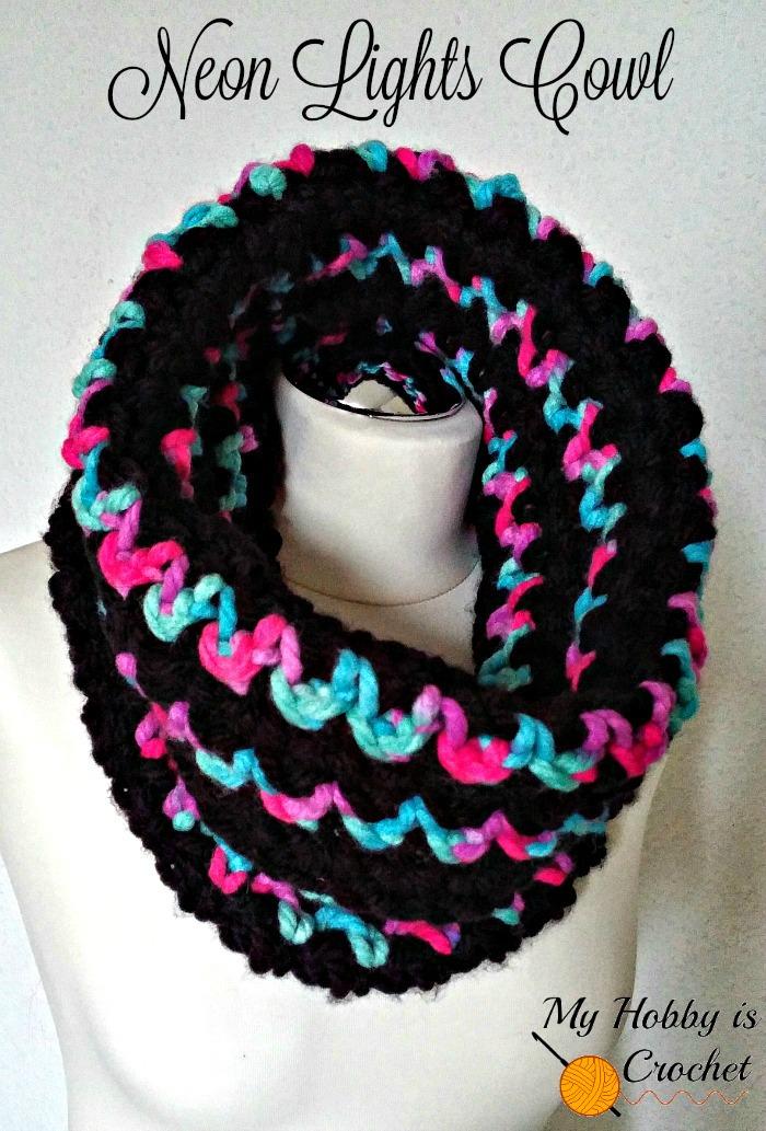 My Hobby Is Crochet Neon Lights Cowl Free Crochet Pattern