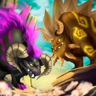 imagen del combate de los dragones de dragon city