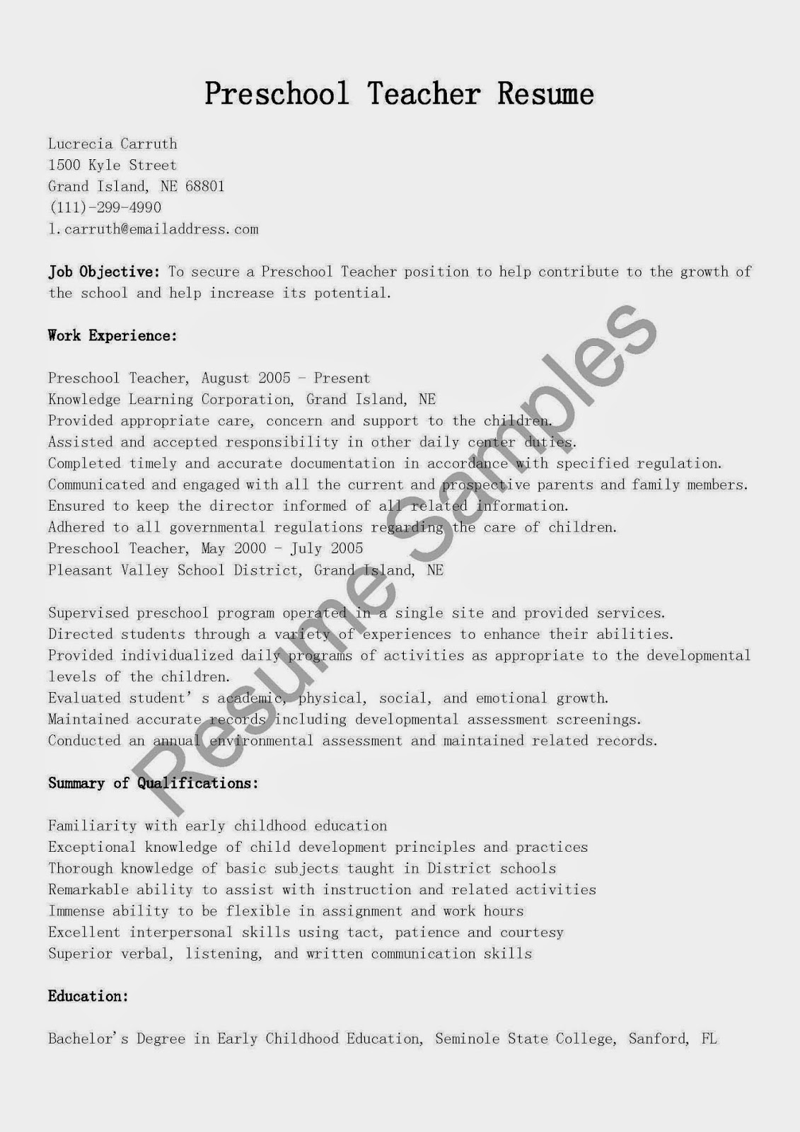 Resume Samples Preschool Teacher Resume Sample