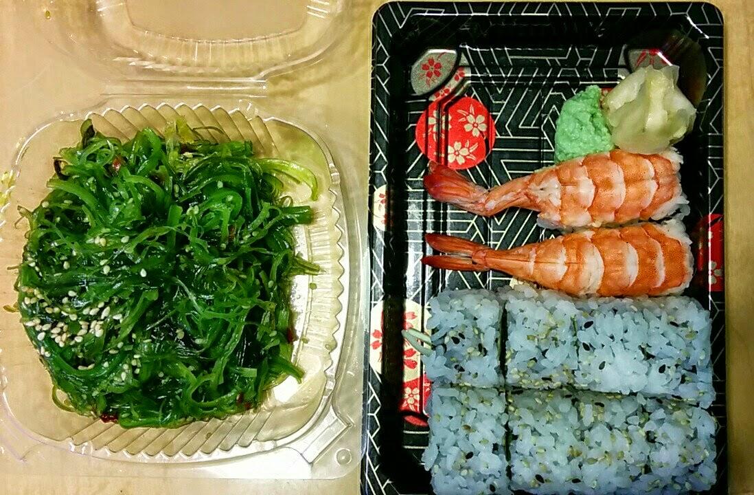 Seaweed salad, sushi, California rolls