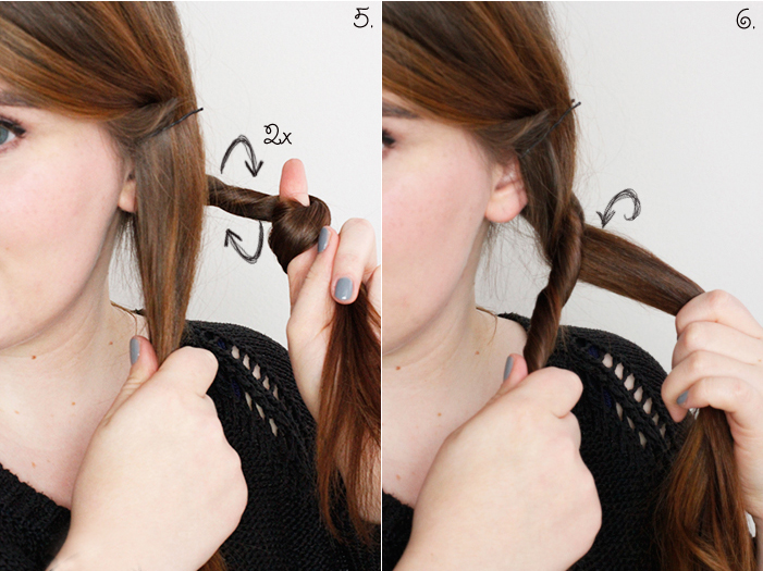 Hair Tutorial Cord Plait Step 5, 6