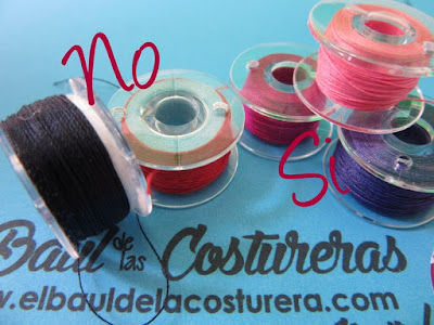 Para evitar problemas de costura no devane sus bobinas o canillas con diferentes hilos