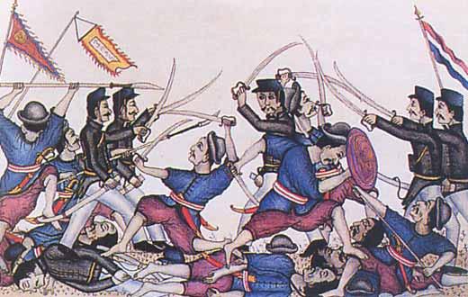 """Lukisan tentang """"Pemberontakan etnis Cina"""" tahun 1740 terhadap VOC, merupakan peristiwa sosial yang menghembohkan."""