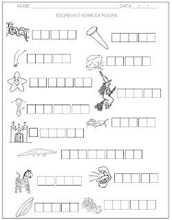 Hipótese de escrita alfabética - Alfabetização - Escreva o nome das figuras