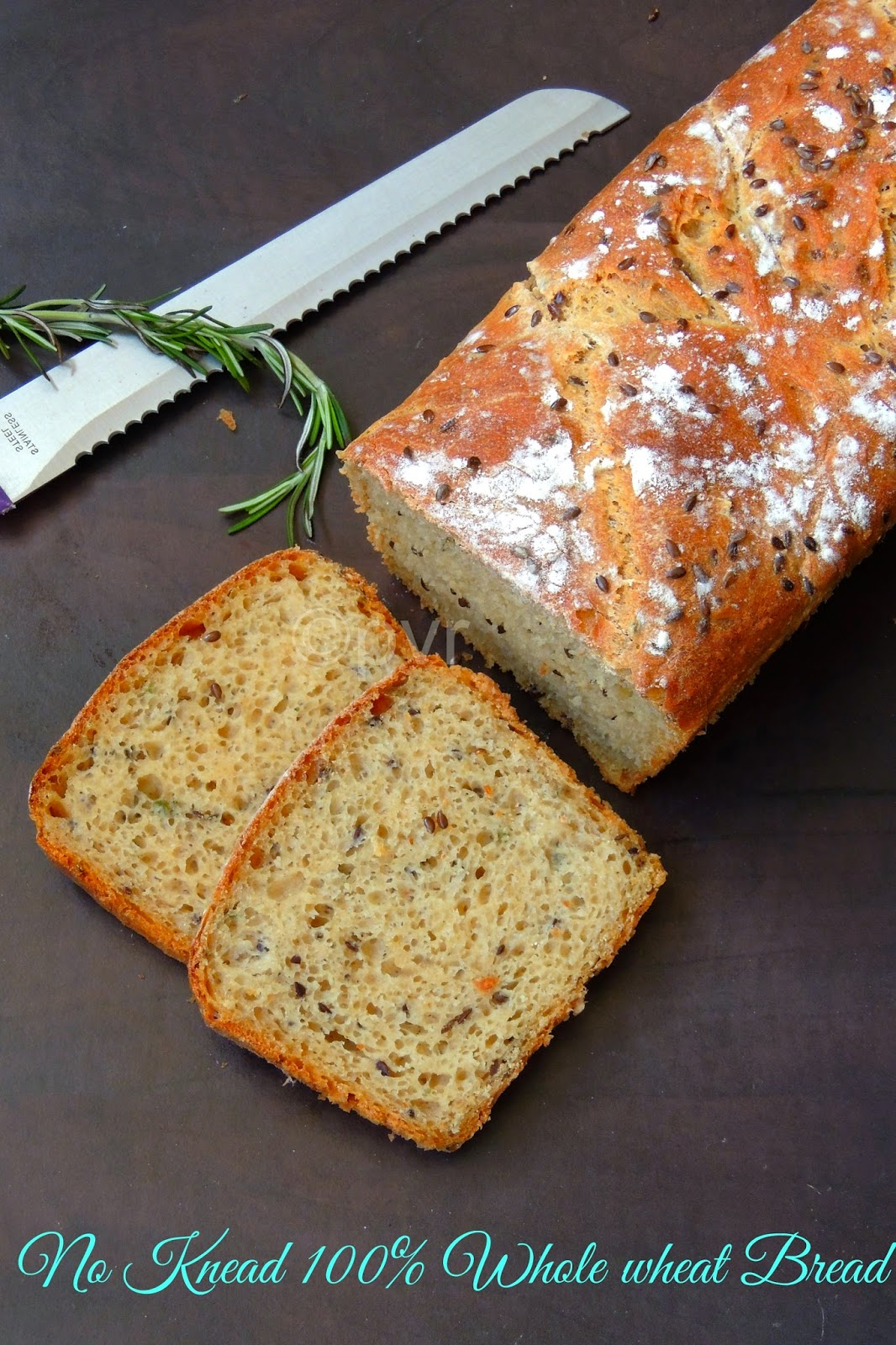 No knead vegan rosemary and flaxseed bread, Herb & Flaxseed loaded no knead whole wheat bread loaf, No knead whole wheat bread loaf