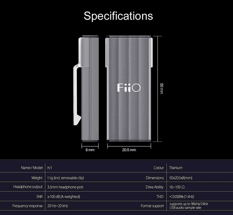 FiiO K1 specs