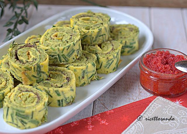 Girelle alla crema di piselli con uova di lompo ricetta antipasto