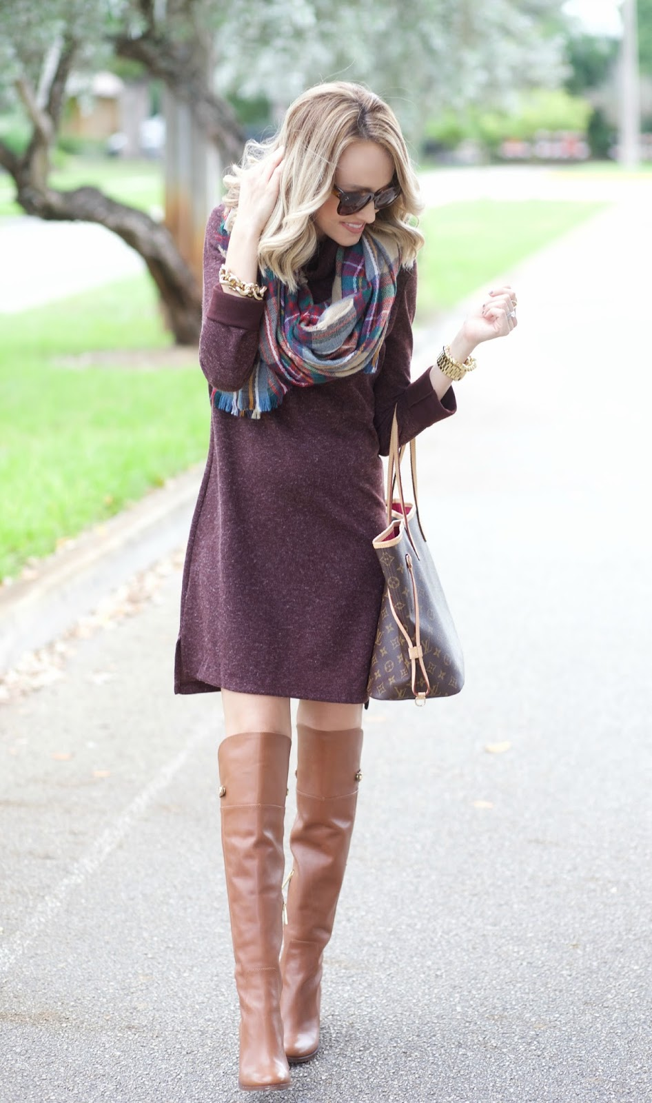 Black Sweater Dress with Scarf