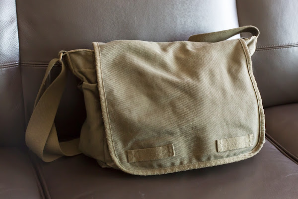 Olive Classic Messenger bag heavyweight canvas school