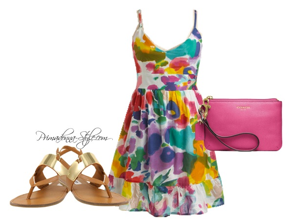 Bloom Brightly Watercolor Print Dress Coach Small Wristlet Steve Madden Cuff Sandal
