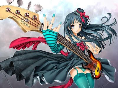 Gambar kartun jepang bermain gitar.