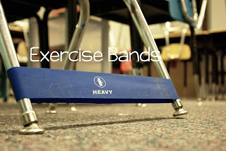 "Exercise Bands to help those ""wiggly"" students or students with ADD, ADHD."
