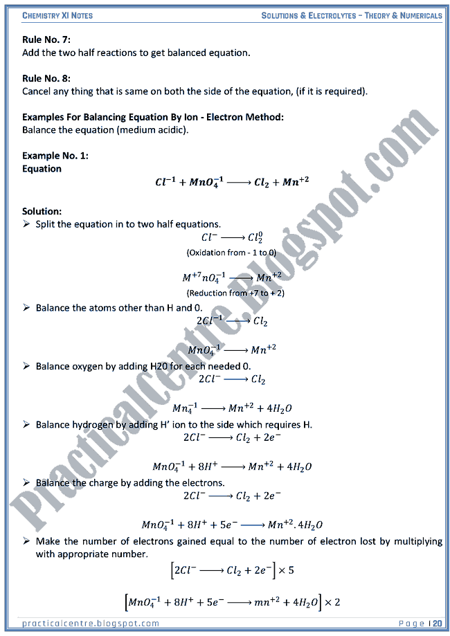 Solutions And Electrolytes - Theory And Numericals (Examples And Problems) - Chemistry XI