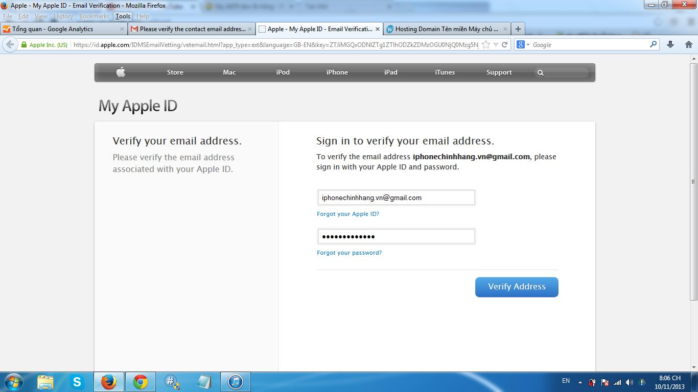 Điền mail và mật khẩu bạn đã tạo