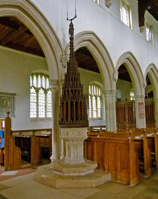 Ewelme, font, font cover, church carving, Edward III