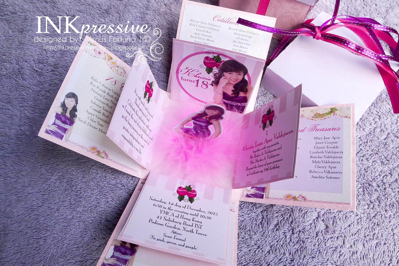 Fur purple and pink exploding box inkpressive invitations fur purple and pink exploding box stopboris Image collections