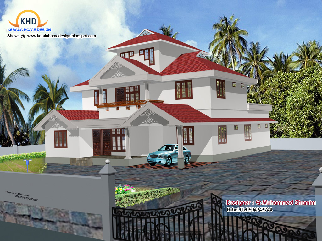 4 beautiful home elevation designs in 3d kerala home design and floor plans - Home sweet home designs ...