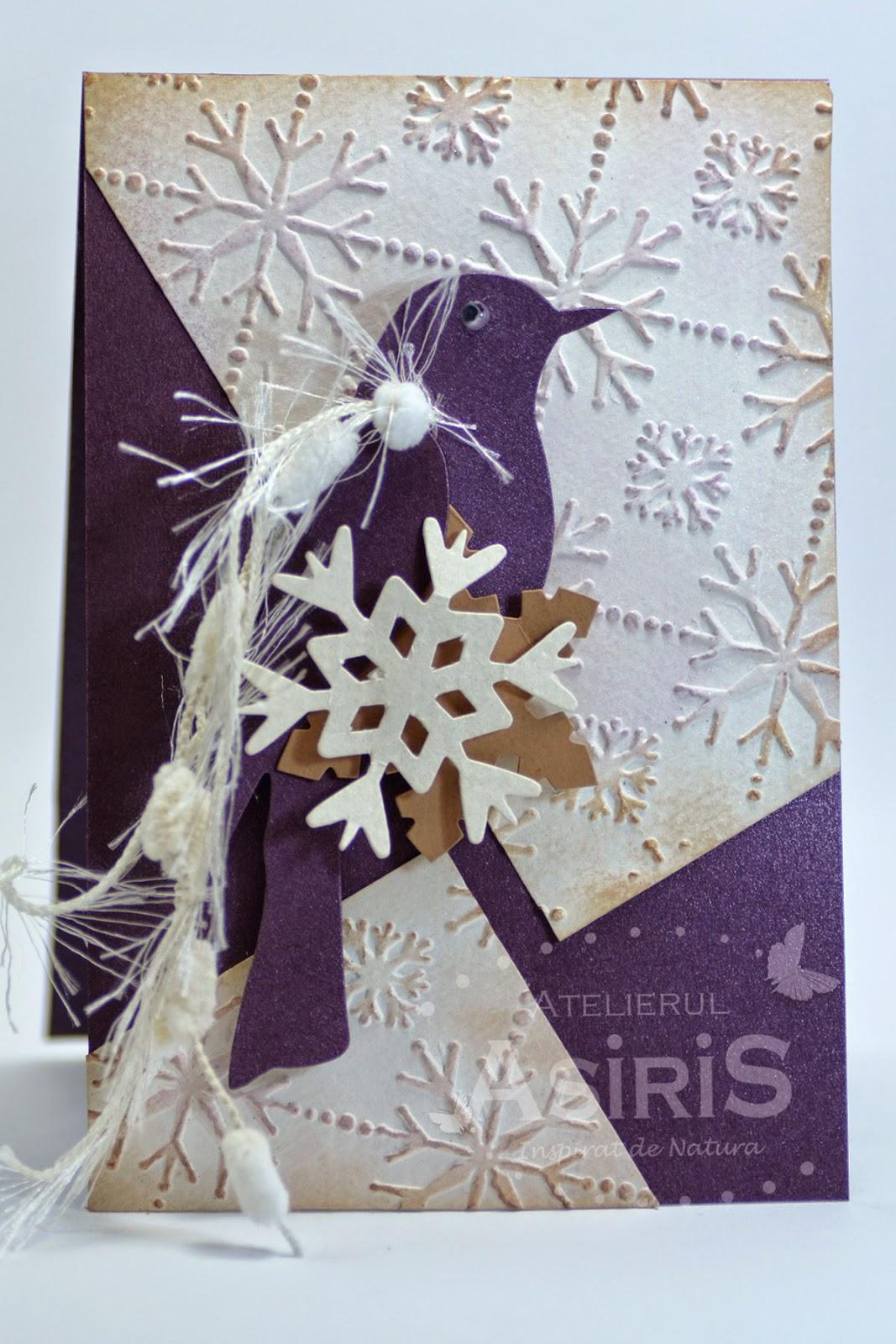 Christmas Handmade Card with Purple Bird