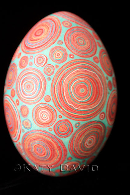 Friday Egg: Transection Red, Rhea Egg Modern Pysanky ©Katy David