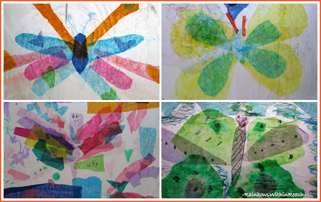 photo of: Collage of Tissue Paper Sun Catcher Butterfly Art Project from First Graders