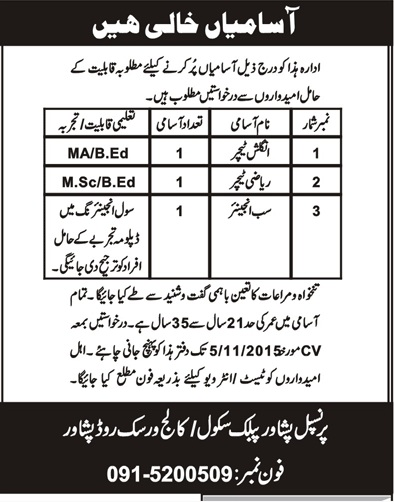 Teachers Jobs in Peshawar Public School Peshawar