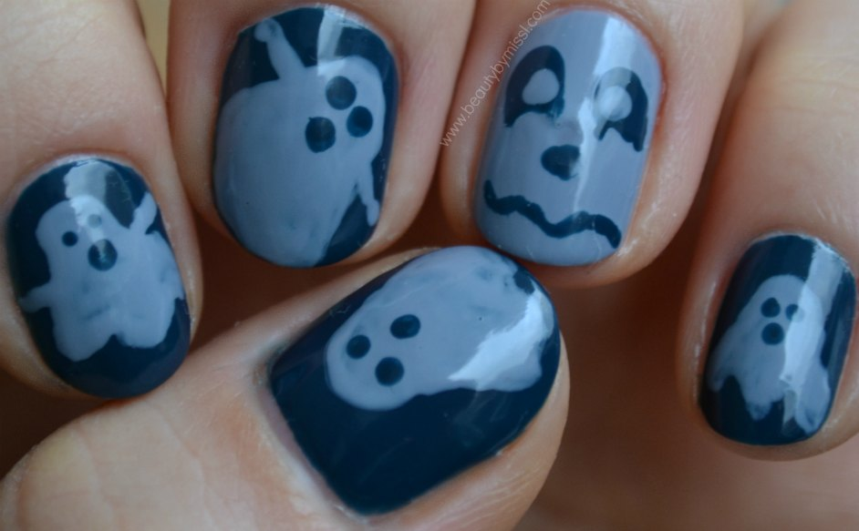 ghosts, nails, notd, nails of the day, nail art