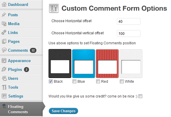 Settings For The Floating Comment Plugin