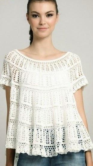 Blusa romántica al crochet con patrones