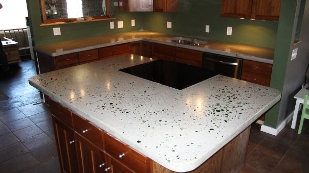 Paxton countertops showers for Crushed glass countertops