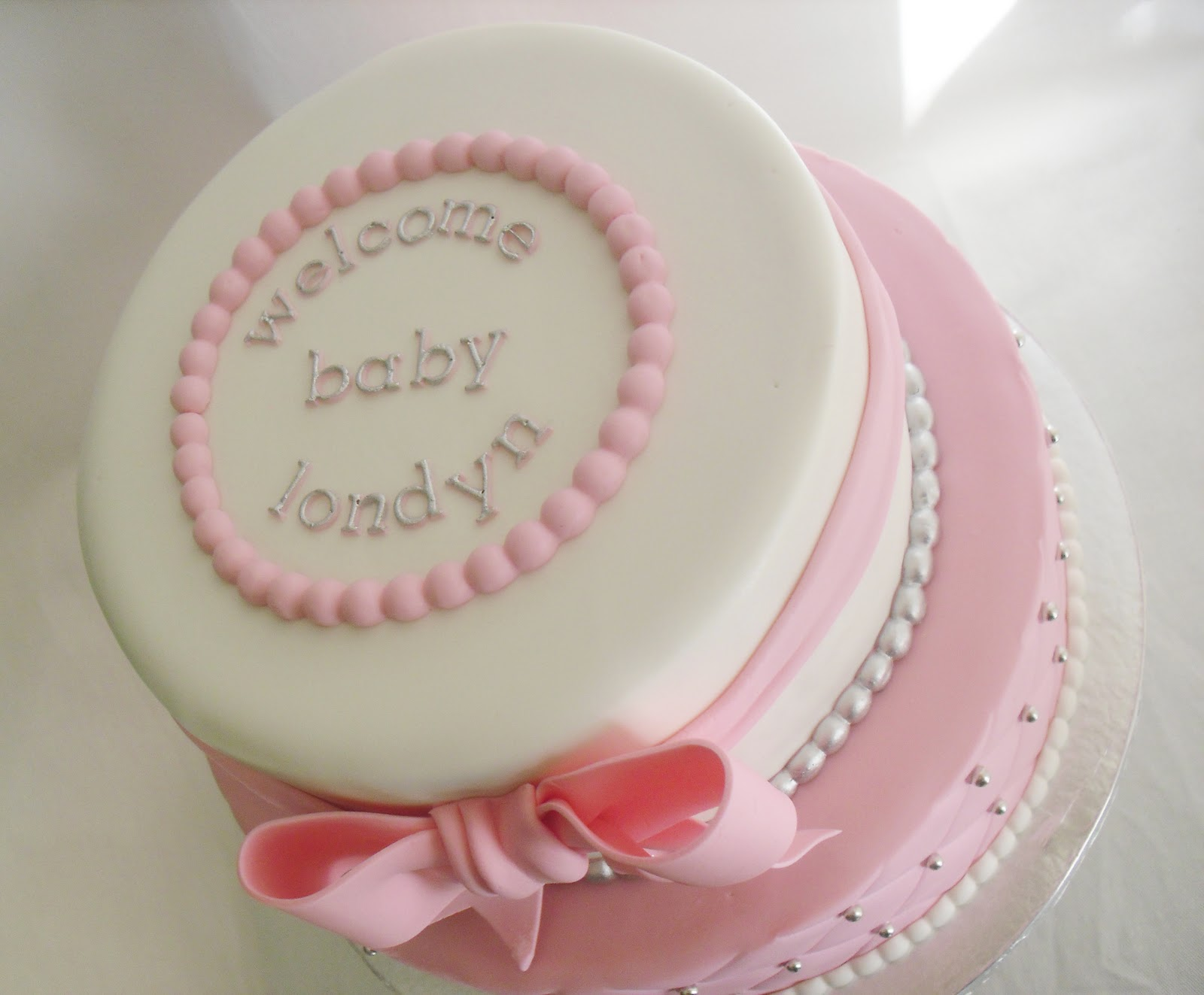 White and Pink Baby Shower Cake