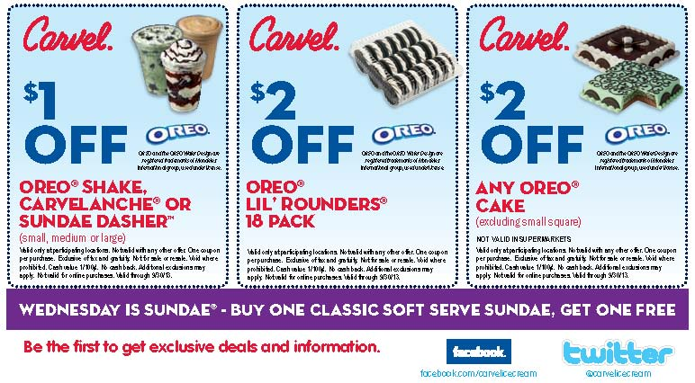 photograph about Carvel Coupon Printable referred to as Carvel ice product sundae coupon codes