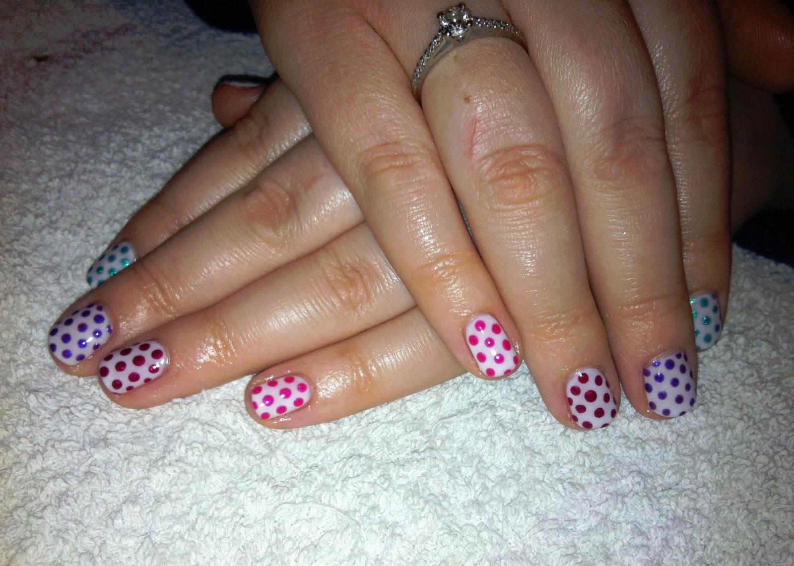 Cnd shellac nail art rainbow polka dots