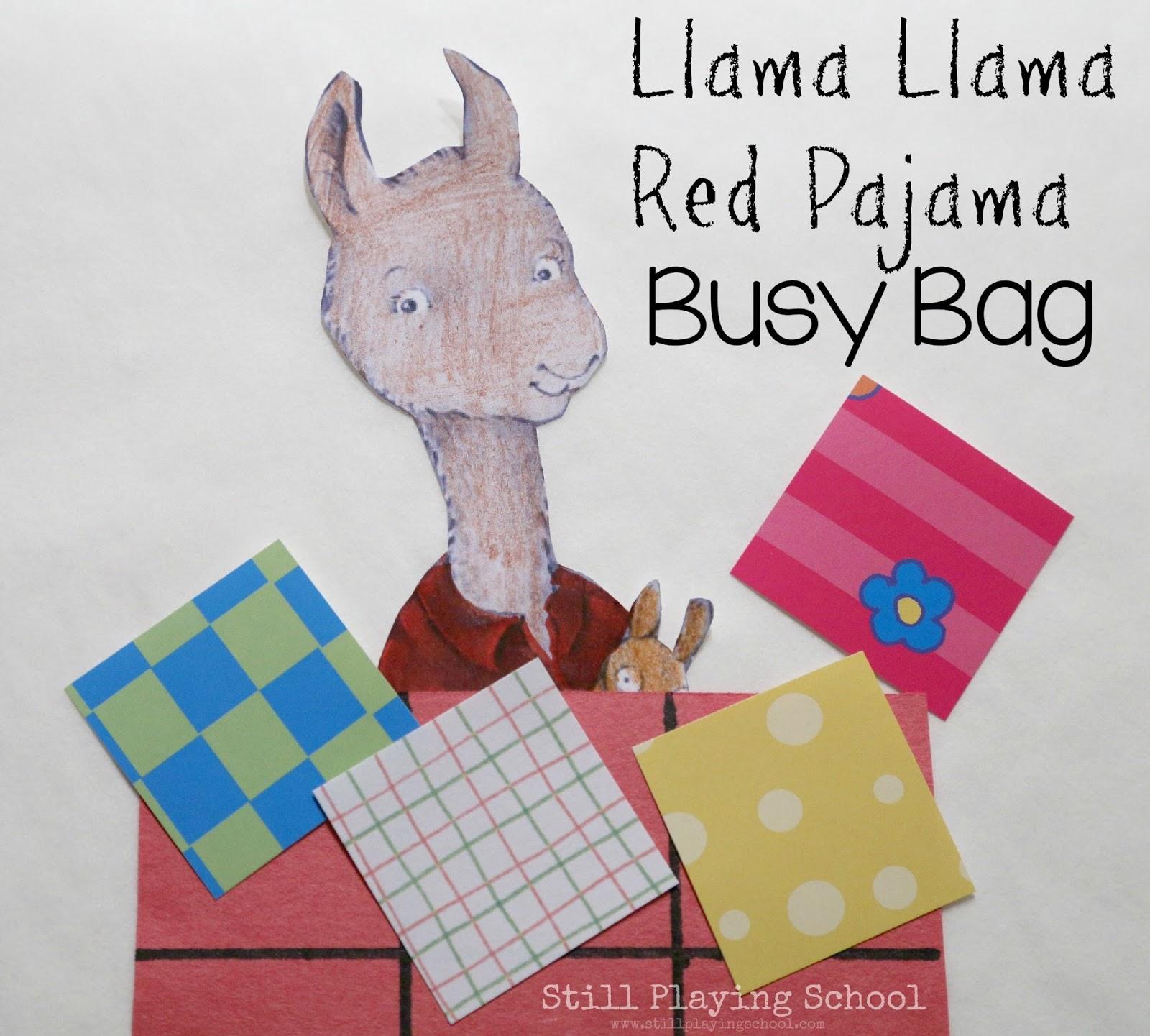 Llama Red Pajama Busy Bag Still Playing School