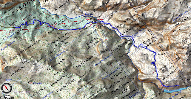 Mapa topográfico Senda de la Jocica Asturias