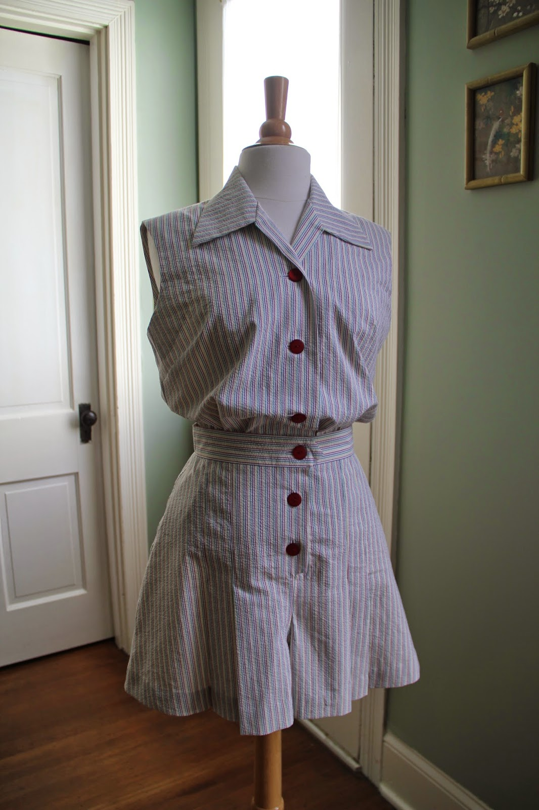 1940s seersucker stripe playsuit playsuit sew-along
