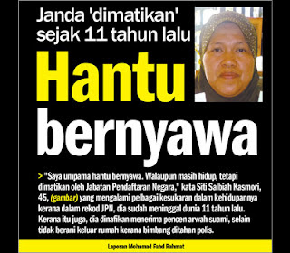 Janda dah mati 11 tahun lalu 'hidup semula'